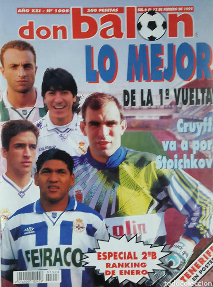 DON BALON 1008 - 6/12 FEBRERO 1995 - CRUYFF/STOICHKOV- ALFONSO-DUMITRESCU- TONI- POSTER CD TENERIFE (Coleccionismo Deportivo - Revistas y Periódicos - Don Balón)