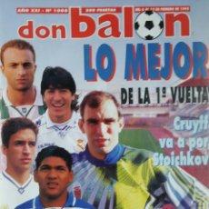 Coleccionismo deportivo: DON BALON 1008 - 6/12 FEBRERO 1995 - CRUYFF/STOICHKOV- ALFONSO-DUMITRESCU- TONI- POSTER CD TENERIFE. Lote 235371110