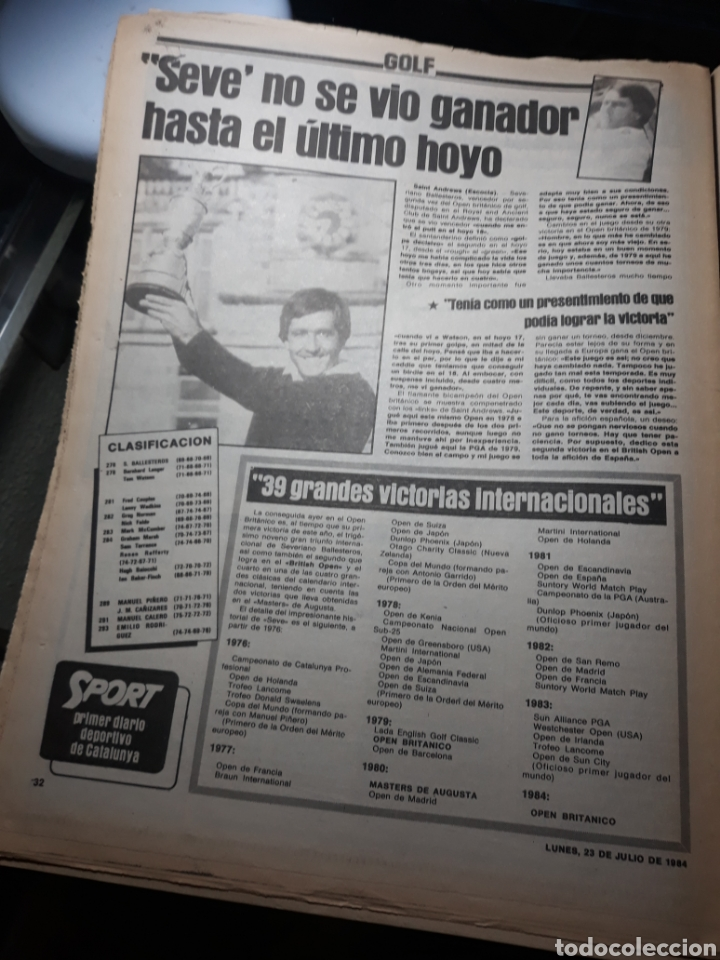 Coleccionismo deportivo: DIARIO SPORT N°1883 . 23 JULIO .1984 . ARCHIBALD. VENABLES . SEVE VENCIO OPEN BRITÁNICO.FIGNON TOUR - Foto 6 - 235581080