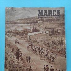 Coleccionismo deportivo: PERIODICO MARCA 1947 VUELTA CICLISTA A ESPAÑA 47 - COPA ATHELTIC CLUB 12-1 CELTA - BARÇA 0-2 NASTIC. Lote 235622405