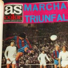 Coleccionismo deportivo: AS COLOR - TOMO ENCUADERNADO CON 16 REVISTAS - LLEVAN LOS POSTER - 1974. Lote 235631445