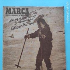 Coleccionismo deportivo: PERIODICO MARCA 1947 JORNADA 13 LIGA 47/48 REAL OVIEDO 7-1 MADRID - VALENCIA - SEVILLA. Lote 235672880