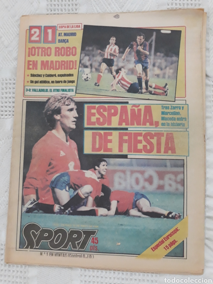 DIARIO SPORT N°1652 .22 JUNIO 1984 . AT. MADRID 2 BARCA 1 OTRO ROBO .ESPAÑA DE FIESTA . EUROCOPA.84 (Coleccionismo Deportivo - Revistas y Periódicos - Sport)