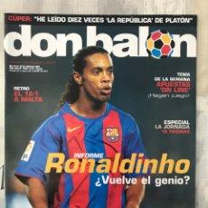 Coleccionismo deportivo: FÚTBOL DON BALÓN 1528 - POSTER BARCELONA - RONALDINHO - ESPAÑA VS MALTA 12-1 - CESC - XEREZ. Lote 235918795