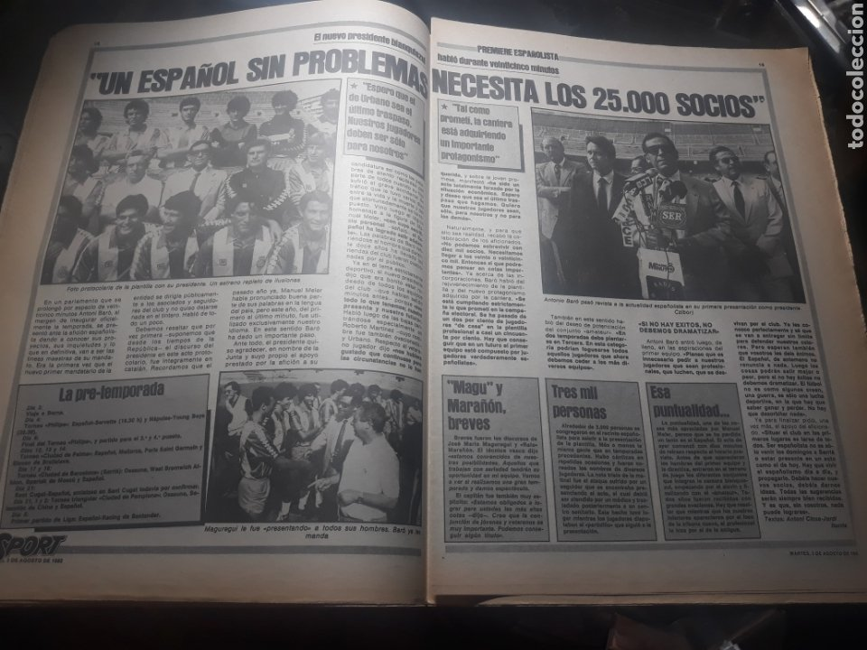 Coleccionismo deportivo: DIARIO SPORT N° 969 . 3 AGOSTO 1982 .HOY DEBUTA EL BARCA 83. SIMONSEN - MARADONA. POSTER ESPAÑOL 83 - Foto 6 - 236048750