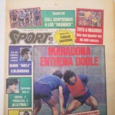 Coleccionismo deportivo: MARADONA ENTRENA DOBLE. DIARIO SPORT 1.602. JUEVES 3 MAYO 1984. FC BARCELONA BARÇA. Lote 236129300