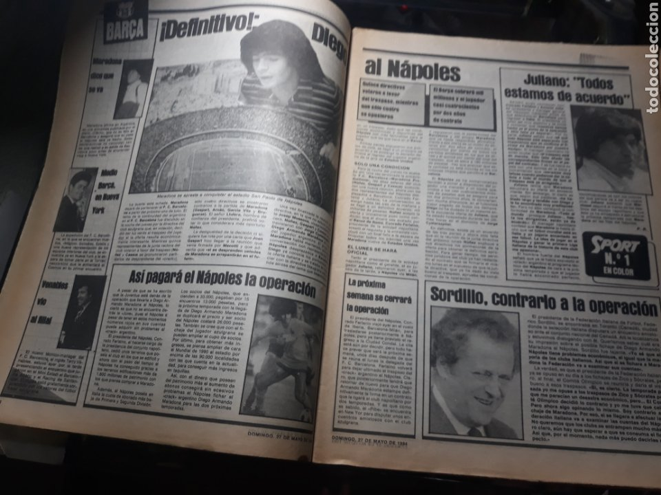 """Coleccionismo deportivo: SPORT N° 1626 .27 MAYO 1984. MARADONA """" QUIERO IRME"""". SUIZA 0 ESPAÑA 4 - Foto 3 - 236152700"""