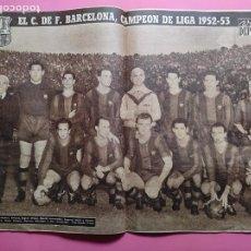 Coleccionismo deportivo: VIDA DEPORTIVA Nº 400 FC BARCELONA CAMPEON LIGA 52/53 POSTER BARÇA 1952/1953 RESUMEN TEMPORADA. Lote 236491615