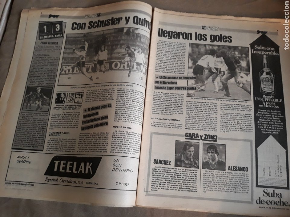 Coleccionismo deportivo: SPORT N° 1463. 12 DICIEMBRE 1983 SALAMANCA 1 BARCA 3 .ESPAÑOL 2 VALLADOLID 0. - Foto 3 - 236501400