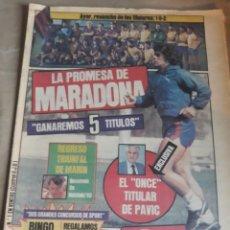 """Coleccionismo deportivo: SPORT N° 1345.16 AGOSTO 1983.LA PROMESA DE MARADONA."""" GANAREMOS 5 TITULOS """" EL GAMPER DARA 200 KILOS. Lote 236701560"""