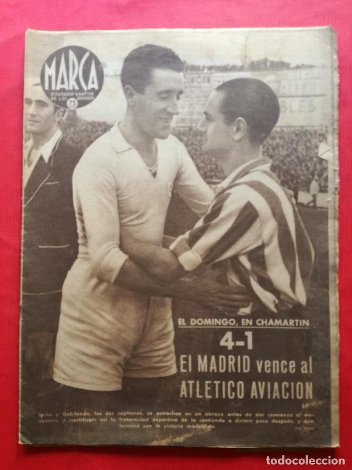 PERIODICO MARCA 1942 LIGA 41/42 ASCENSO REAL BETIS - MADRID-ATLETICO AVIACION CASTELLON 4-0 ATHLETIC (Coleccionismo Deportivo - Revistas y Periódicos - Marca)