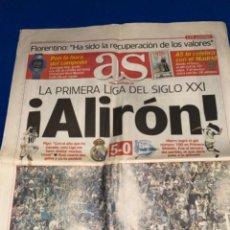 Coleccionismo deportivo: REAL MADRID AS 27 MAYO 2091 ALIRON LA PRIMERA DEL S XXI LIGA. Lote 237813420