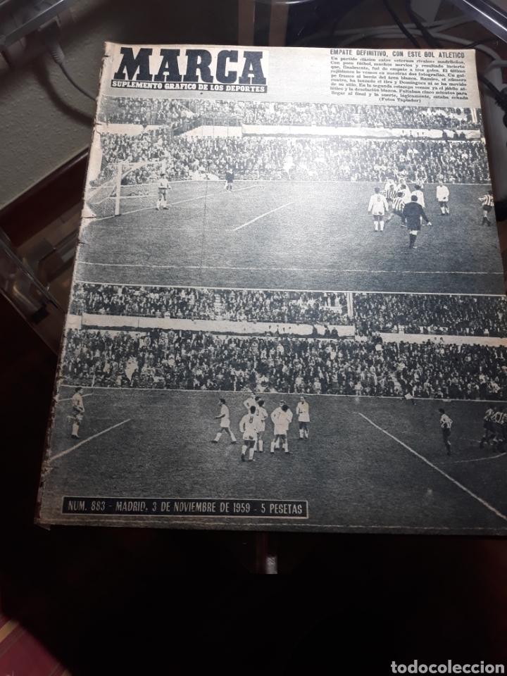 REVISTA MARCA 1959 .R.MADRID 3 AT.MADRID 3. BARCELONA MILAN .VENCIO EL RAYO AL PLUS ULTRA (Coleccionismo Deportivo - Revistas y Periódicos - Marca)