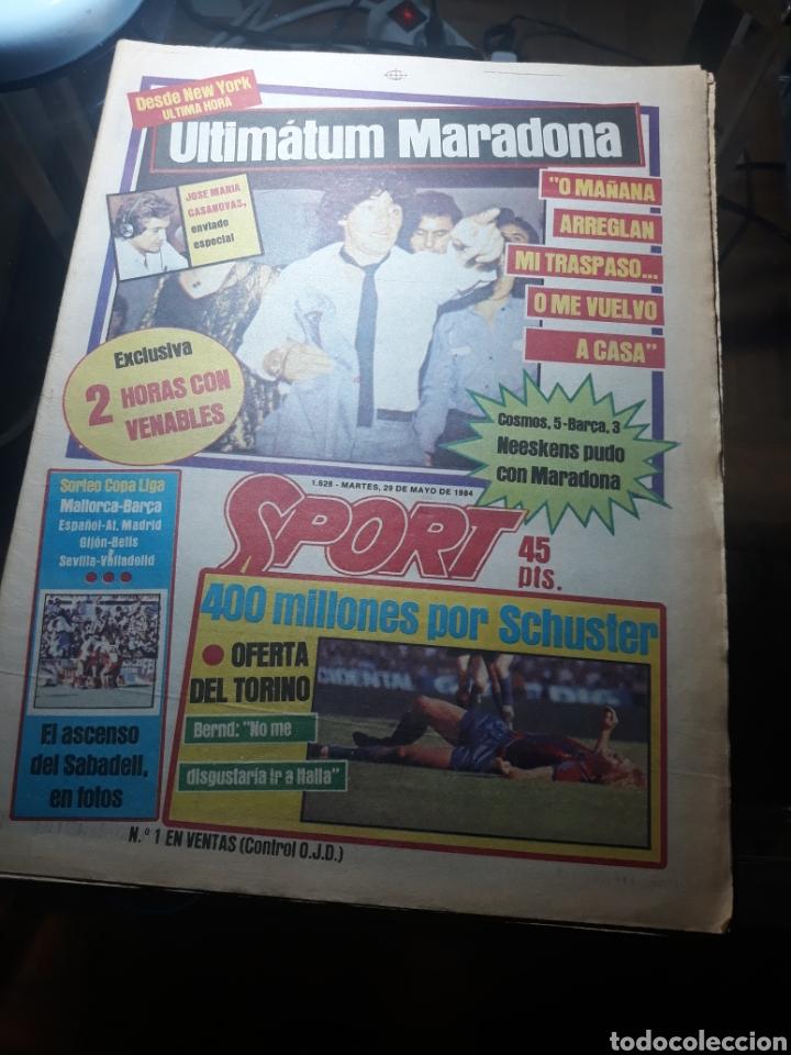 SPORT 29 MAYO 1984 . COSMOS 5 BARCELONA 3 - ULTIMÁTUM MARADONA -SCHUSTER , OFERTA DEL TORINO . (Coleccionismo Deportivo - Revistas y Periódicos - Sport)