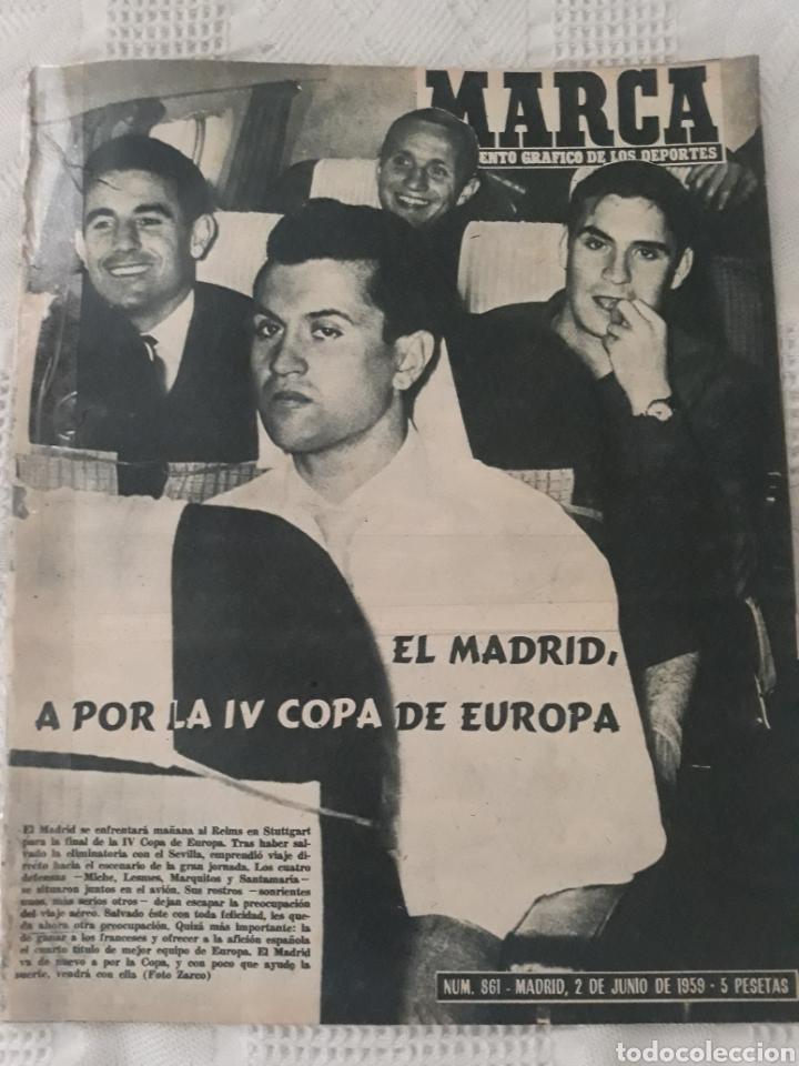 REVISTA MARCA 1959 . EL MADRID A POR LA IV COPA DE EUROPA. SORTEO COPA SEMIFINALES -POBLET CICLISTA (Coleccionismo Deportivo - Revistas y Periódicos - Marca)