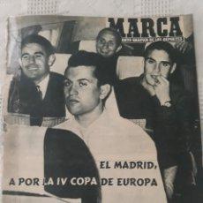 Coleccionismo deportivo: REVISTA MARCA 1959 . EL MADRID A POR LA IV COPA DE EUROPA. SORTEO COPA SEMIFINALES -POBLET CICLISTA. Lote 238812485