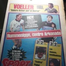 Coleccionismo deportivo: SPORT 20 JUNIO 1984 ALEMANIA- ESPAÑA , SEMIFINAL EUROCOPA 84 -VOELLER ¡ QUIERO FICHAR POR EL BARCA. Lote 238885525