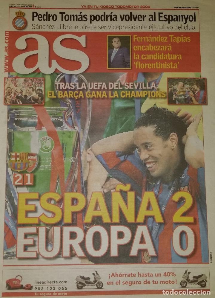 FINAL CHAMPIONS 2006 - FC BARCELONA & ARSENAL (Coleccionismo Deportivo - Revistas y Periódicos - As)