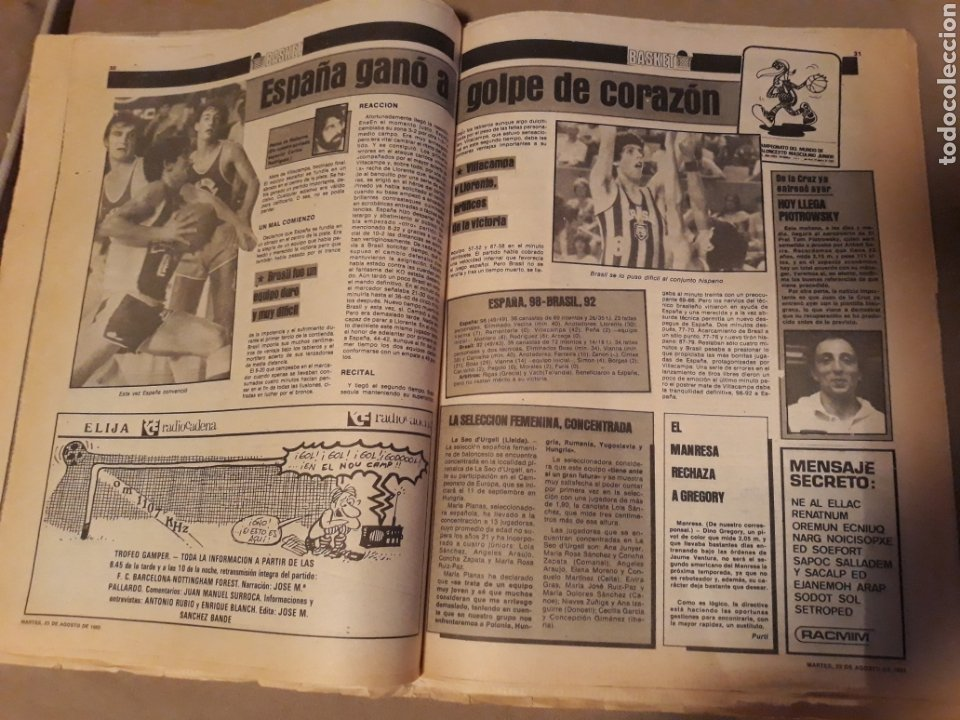 Coleccionismo deportivo: SPORT 23 AGOSTO 1983 . DIARIO DEL GAMPER - ESTRENO BARCA 84 - JULIO IGLESIAS AMIGO DE MARADONA. - Foto 8 - 240255555