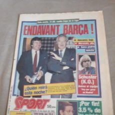 Coleccionismo deportivo: SPORT 18 DE MAYO DE 1985 . COPA DE LA LIGA REAL MADRID VS BARCELONA - GORDILLO - PINEDA - MARATON. Lote 241388970
