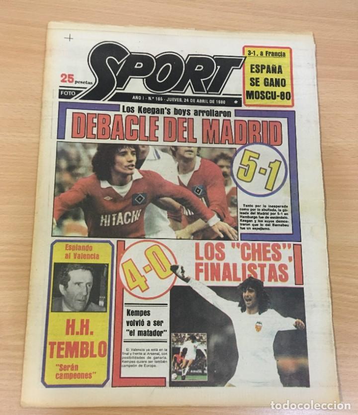 DIARIO DEPORTIVO SPORT Nº 165 - 24 ABRIL 1980 - HAMBURGO DE KEAGAN 5 A 1 AL REAL MADRID - VALENCIA (Coleccionismo Deportivo - Revistas y Periódicos - Sport)