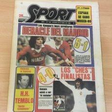 Coleccionismo deportivo: DIARIO DEPORTIVO SPORT Nº 165 - 24 ABRIL 1980 - HAMBURGO DE KEAGAN 5 A 1 AL REAL MADRID - VALENCIA. Lote 242224140