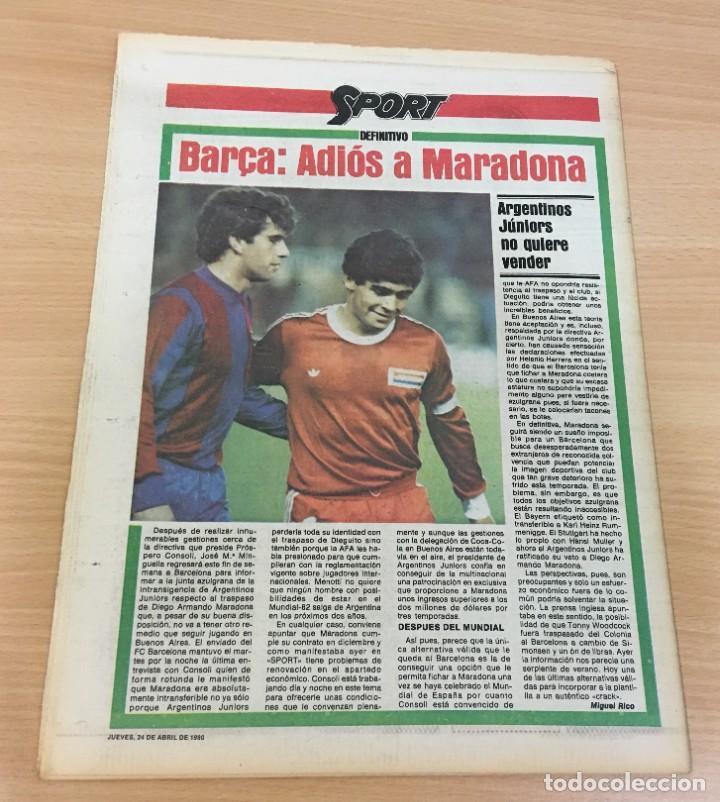Coleccionismo deportivo: DIARIO DEPORTIVO SPORT Nº 165 - 24 ABRIL 1980 - HAMBURGO DE KEAGAN 5 A 1 AL REAL MADRID - VALENCIA - Foto 4 - 242224140