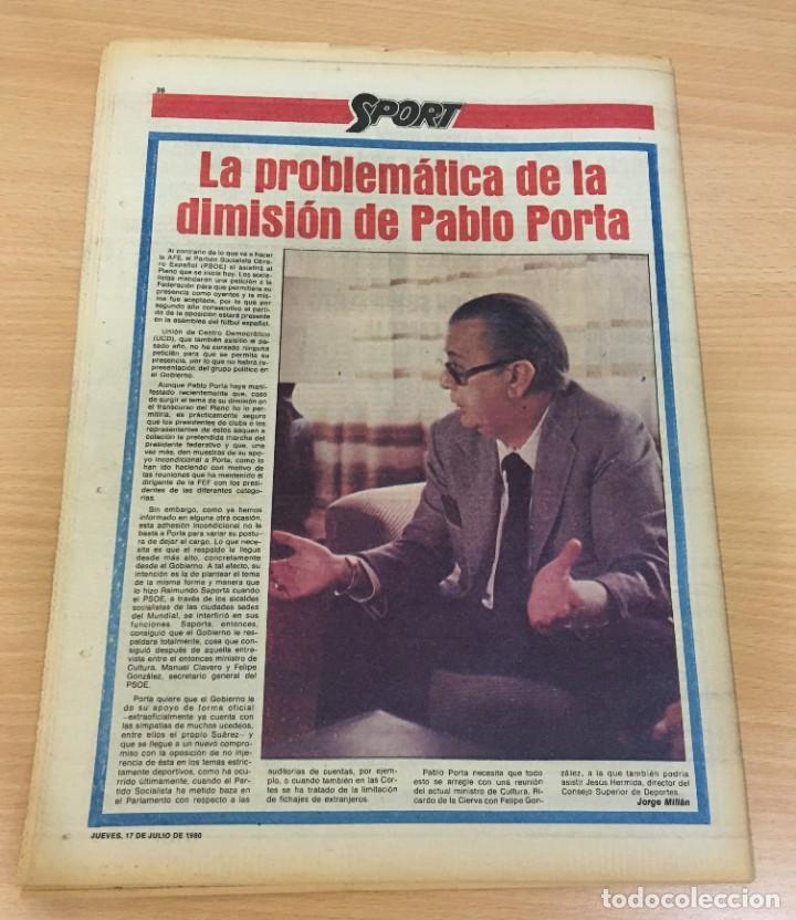 Coleccionismo deportivo: DIARIO DEPORTIVO SPORT Nº 245 - 17 JULIO 1980 - REY SAMARANCH PRESIDENTE DEL COI - Foto 4 - 242224215