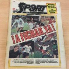Coleccionismo deportivo: DIARIO DEPORTIVO SPORT Nº 197 - 27 MAYO 1980 - A FICHAR YA - MARADONA MARCA CON ARGENTINO JÚNIORS. Lote 242224290