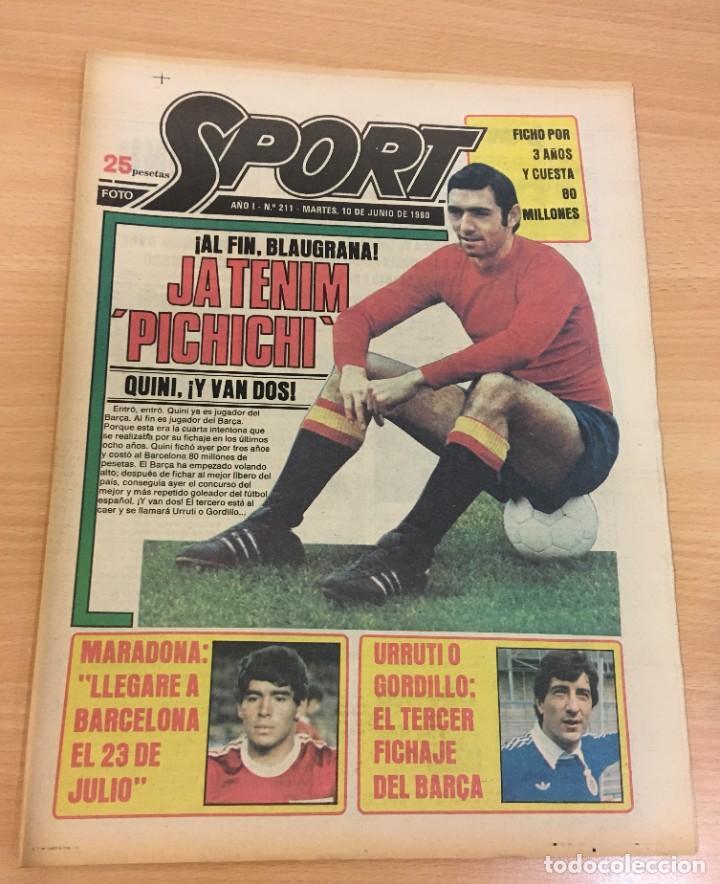 DIARIO DEPORTIVO SPORT Nº 211 - 10 JUNIO 1980 - QUINI AL FC BARCELONA - MARADONA AL CAER (Coleccionismo Deportivo - Revistas y Periódicos - Sport)