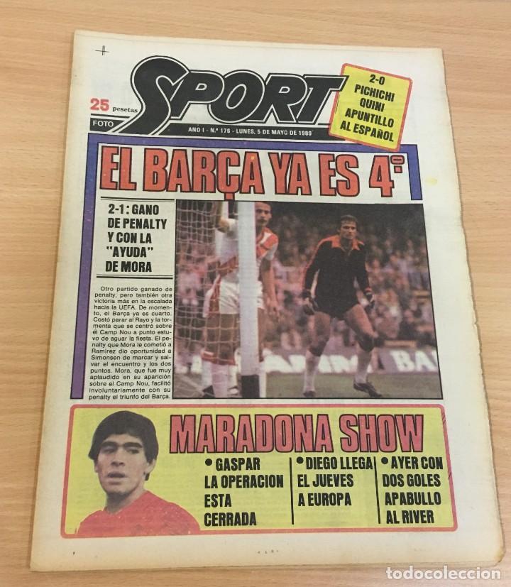 DIARIO DEPORTIVO SPORT Nº 176 - 5 MAYO 1980 - EL BARÇA YA ES 4º - MARADONA SHOW (Coleccionismo Deportivo - Revistas y Periódicos - Sport)