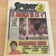 Colecionismo desportivo: DIARIO DEPORTIVO SPORT Nº 176 - 5 MAYO 1980 - EL BARÇA YA ES 4º - MARADONA SHOW. Lote 242224615