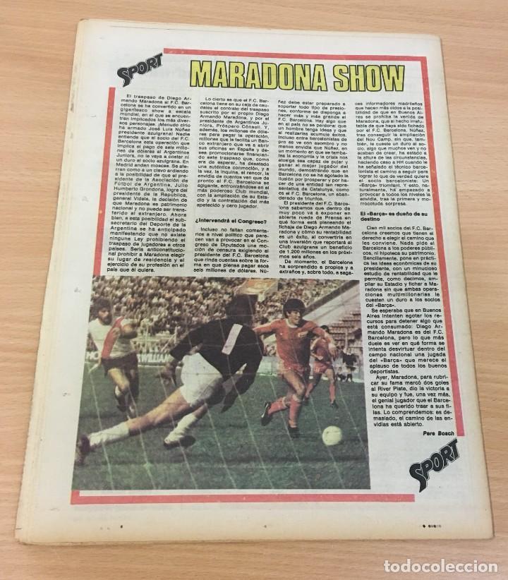 Coleccionismo deportivo: DIARIO DEPORTIVO SPORT Nº 176 - 5 MAYO 1980 - EL BARÇA YA ES 4º - MARADONA SHOW - Foto 4 - 242224615