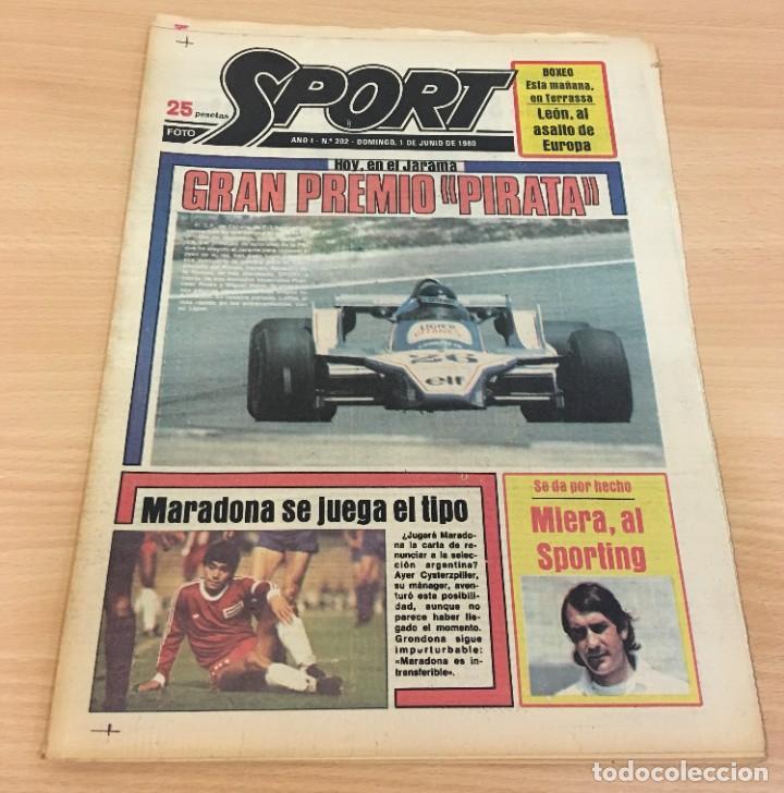 DIARIO DEPORTIVO SPORT Nº 202 - 1 JUNIO 1980 - F1 GP JARAMA PIRATA - MARADONA SE JUEGA EL TIPO (Coleccionismo Deportivo - Revistas y Periódicos - Sport)