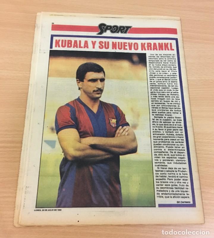 Coleccionismo deportivo: DIARIO DEPORTIVO SPORT Nº 254 - 28 JULIO 1980 - QUINI Y KRANKL - NIETO CASI CAMPEÓN - Foto 4 - 242224755