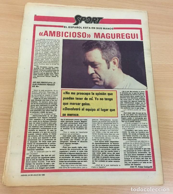 Coleccionismo deportivo: DIARIO DEPORTIVO SPORT Nº 251 - 24 JULIO 1980 - VISCA EL BARÇA 81 - BRONCE PARA ZUBERO EN MOSCÚ 80 - Foto 3 - 242224920