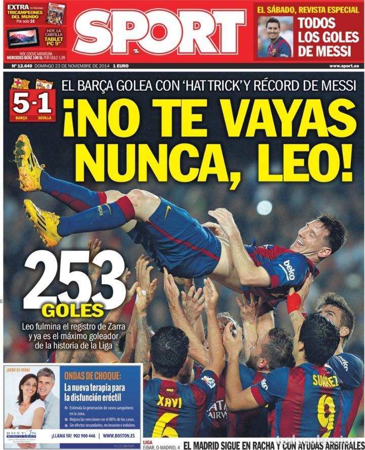 Coleccionismo deportivo: SPORT [23 de noviembre de 2014][Número 12.649][Messi, máximo goleador de la historia de la liga] - Foto 2 - 243423100
