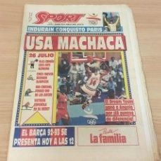 Coleccionismo deportivo: DIARIO SPORT Nº 4563 - 27 JULIO 1992 - INDURÁIN CONQUISTÓ PARÍS - DREAM TEAM USA MACHACA A ANGOLA. Lote 243679285