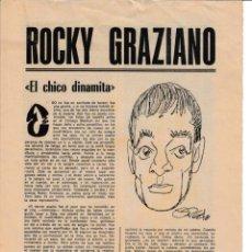 Coleccionismo deportivo: MARCA. ROCKY GRAZIANO EL CHICO DINAMITA. BOXEADOR. BIOGRAFIA 8 PAG. Lote 243773480