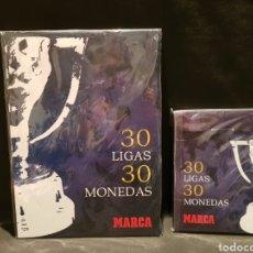Coleccionismo deportivo: 30 LIGAS 30 MONEDAS. COLECCIÓN MARCA REAL MADRID. COMPLETA.. Lote 244017800