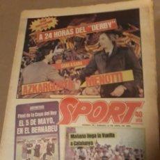 Coleccionismo deportivo: SPORT 21 ABRIL 1984 . DERBY BARCA - ESPAÑOL . ARBITRO PES PEREZ . VICTOR Y ZUÑIGA SUPER - DERBY. Lote 244628820