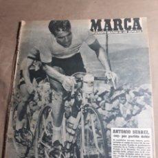 Coleccionismo deportivo: MARCA N° 858 MAYO 1959 .SUAREZ GANADOR VUELTA A ESPAÑA . FANGIO - ALUMNOS UNIVERSIDAD LABORAL GIJÓN. Lote 244987310