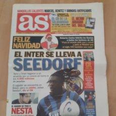 Coleccionismo deportivo: PERIÓDICO AS. 24-XII-1999.SEEDORF TRASPASADO AL INTER DE MILAN. Lote 245219790