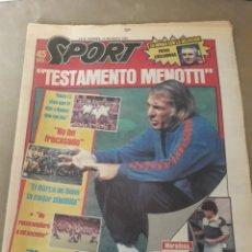 """Coleccionismo deportivo: SPORT 11 MAYO 1984 . """" TESTAMENTO MENOTTI"""" - """" TODOS SOMOS CULPABLES """" , MARADONA , INCIDENTES COPA. Lote 246118785"""