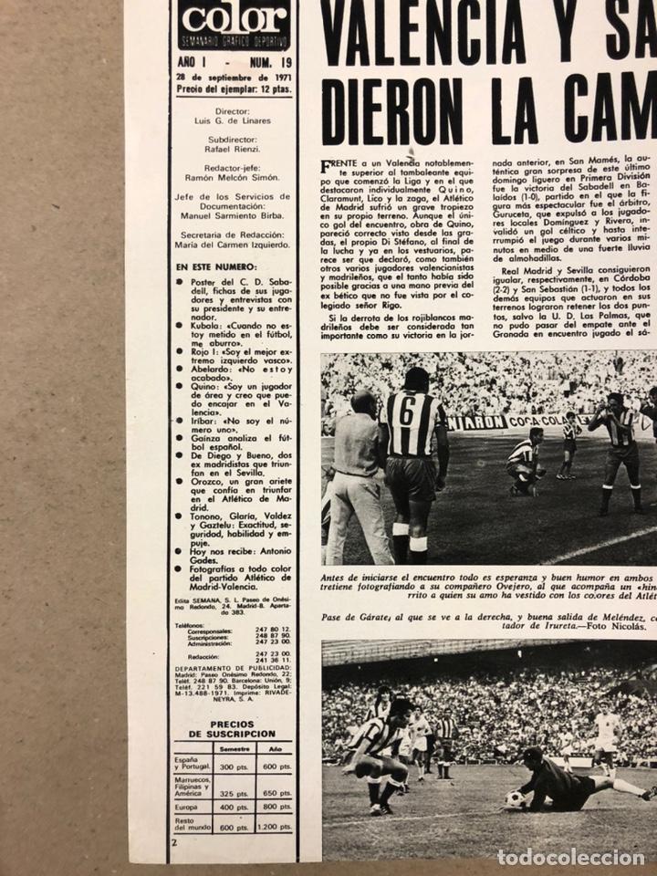 Coleccionismo deportivo: AS COLOR N° 19 (1971). INCLUYE POSTER SABADELL C.F., IRIBAR, ROJO I, QUINI, CHURRUCA, ÁNGEL NIETO,.. - Foto 2 - 246659245