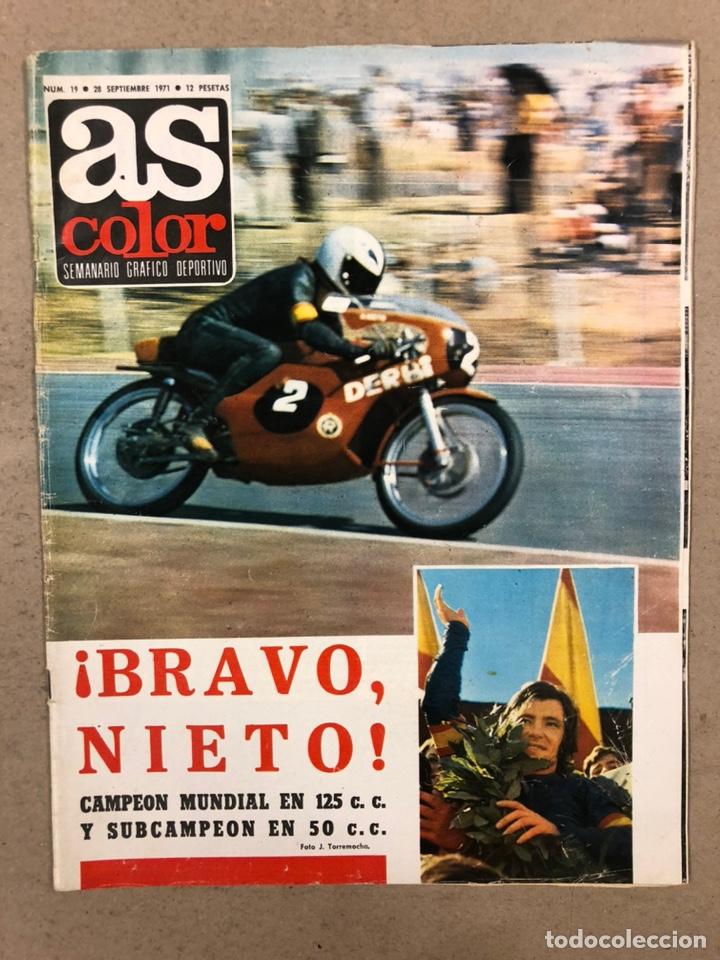 AS COLOR N° 19 (1971). INCLUYE POSTER SABADELL C.F., IRIBAR, ROJO I, QUINI, CHURRUCA, ÁNGEL NIETO,.. (Coleccionismo Deportivo - Revistas y Periódicos - As)