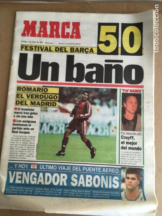 DIARIO MARCA 5-0 BARÇA MADRID 9 ENERO 1994 ROMARIO CRUYFF Nº 16449 (Coleccionismo Deportivo - Revistas y Periódicos - Marca)