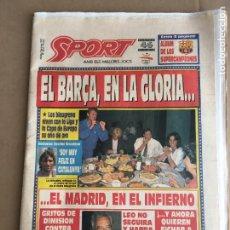 Coleccionismo deportivo: DIARIO SPORT EL BARÇA EN LA GLORIA LIGA 91-92 CRUYFF DREAM TEAM Nº 4515 9 JUNIO 1992. Lote 247073795