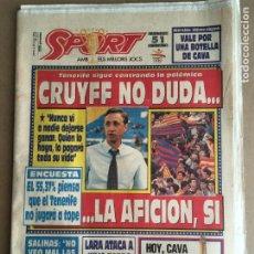 Coleccionismo deportivo: DIARIO SPORT BARÇA LIGA 91-92 CRUYFF DREAM TEAM Nº 4510 4 JUNIO 1992. Lote 247074775
