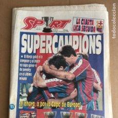 Coleccionismo deportivo: DIARIO SPORT BARÇA LIGA 93 94 CAMPEON CRUYFF DREAM TEAM Nº 5213 15 MAYO 1994. Lote 247076395